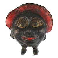 Old Cast Iron MONEY BOX Figural Still Bank Smiling Face