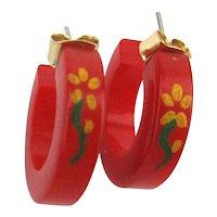 Vintage Bakelite Red Hoop Earrings w/ Flower Art