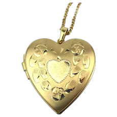 14K Gold-Filled Heart Photo Locket Necklace - Etched w/ Room for Two