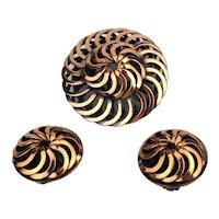 Modernist Copper Pin Brooch Earrings Set