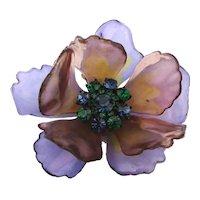 Vintage Big Resin Flower Pin Brooch w/ Rhinestone Center