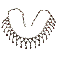 Stunning Dripping 53 Garnet Sterling Silver Necklace