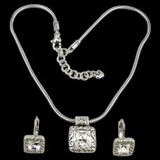 Vintage Brighton Necklace Earrings Set One Big Crystal Rhinestone