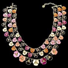Rare Vintage Kate Spade Big Bold 3-Strand Enamel Flower Necklace