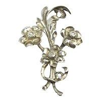 Art Deco Era Sterling Silver Fancy Flowers Pin Brooch