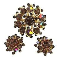 WEISS Aurora Borealis Crystal Rhinestone Set Pin - Clip Earrings