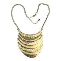 Modernist  Gilt Metal Bib Necklace - 7 Layer Waterfall