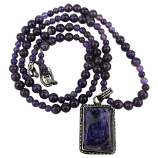 Amethyst Bead Necklace w/ Sugilite Sterling Silver Pendant