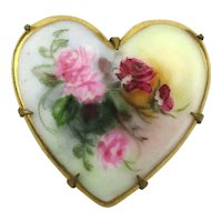 Victorian Porcelain HEART Pin Hand Painted Flowers