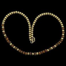 Vintage 12K Gold-Filled Tiger Eye Bead Necklace or Bracelet