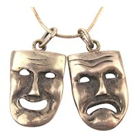 Modernist Handwrought 925 Comedy Tragedy Face Mask Pendants Necklace