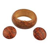 Handmade Cobra Snake Bangle Bracelet Earrings Set - Signed