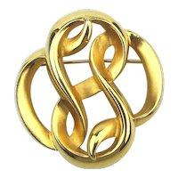 Vintage P.E.P. Erwin Pearl Pin Brooch Twisty Twining Goldtone