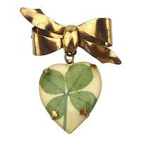 Rare Mutant Shamrock 4-Leaf Clover Heart Pin Brooch