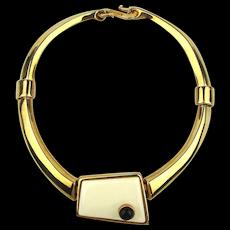 Alexis Kirk Modernist Enamel Goldtone Necklace