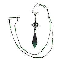 Art Deco Long Sterling Lavalier Necklace Enamel Chain Czech Glass Drop