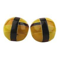 Fused Genuine Egg Yolk Amber Stud Earrings