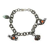Old Sterling Silver Charm Bracelet Odd Form Charms