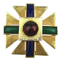 Vintage Maltese Cross Pin Brooch w/ Glass Lucite Jewels