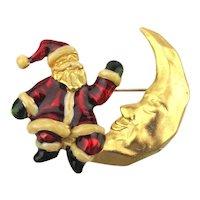 Enamel Santa Claus Meets Mr. Moon Pin Brooch
