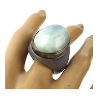 Big Stone Ring w/ Band of Sterling Silver Signed GSJ