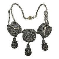 Early Art Deco Leaping Antelope Antiqued Silvertone Necklace