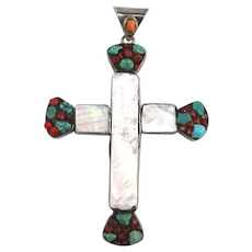 Large Mother-of-Pearl Turquoise Red Coral Cross Pendant