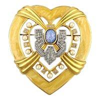 Elizabeth Taylor Avon Big Jeweled Hollywood Heart Pin Brooch