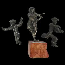 Vintage Kedem Judaica Sterling Silver Performing Fiddler Dancer Sculpture
