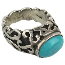 Vintage Chunky Sterling Silver Ring w/ Turquoise Stone