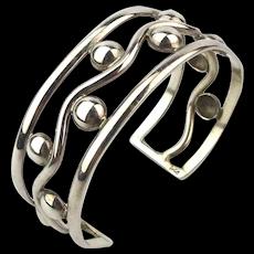 Modernist Wavy Sterling Silver Ball Cuff Bracelet