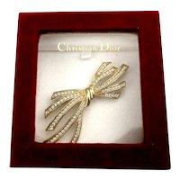Christian Dior Goldtone Bow Rhinestone Pin Brooch - Original Box