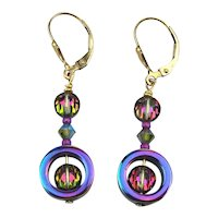 Two-Sided Iridescent 14K Gold-Filled Earrings - 2 Way Dangles