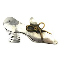 Signed Sterling Silver Pump Heel Shoe Pin Brooch