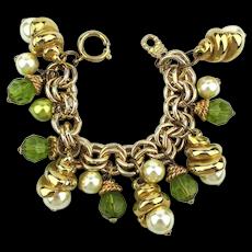 French Jacky de G. Bold Charm Bracelet Faux Gold Pearls n Glass