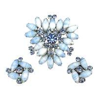 Gorgeous Blue Stones and Rhinestone Pin Earrings Set