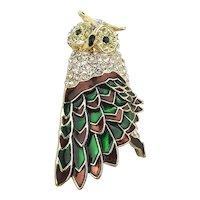 Overdressed Rhinestone Enamel Owl Pin Brooch