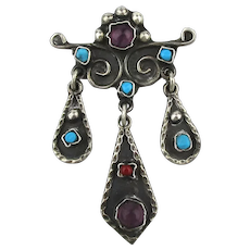 Taxco 925 Sterling Pin Pendant Turquoise Amethyst Dangles