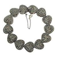 Loving Sterling Silver Heart Links Bracelet Stuffed w/ Marcasite Stones
