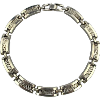 A Serious Modernist Chromed Steel Link Necklace