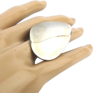 Oversized Modernist Sterling Silver Curved Flat Top Ring