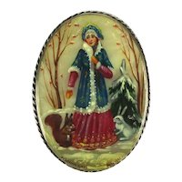 Russian Handpainted Mother-of-Pearl Pin Brooch Lady w/ Animals