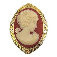 Trifari Cameo Lady Pin Pendant Pretty One