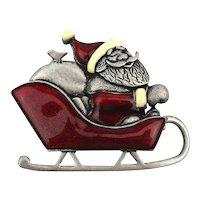 Vintage Santa Claus Pin Red Enamel Sled Joy Ride