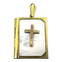 Gold-Filled Mother of Pearl Christian Locket Pendant - Our Father Prayer