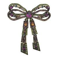 Vintage Heidi Daus Swarovski Crystal Bow Pin Brooch