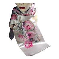 Vintage Silk Scarf Hand-Painted w/ Huge Pink Roses