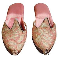 Exotic Embroidered Silk & Leather Pixie Shoes Slippers
