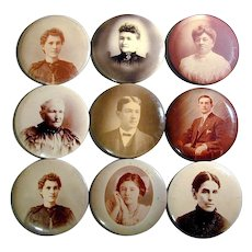 Collection of Victorian Big Celluloid ~Button~ 6-Inch Photo Portraits