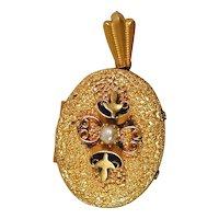 Nice Big Fancy Schmancy Antique Gilded Brass Locket Pendant